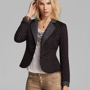 Free People Diamond Textured Knit Polka Dot Blazer